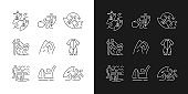 Surface water sport linear icons set for dark and light mode