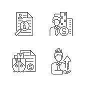 Brokerage linear icons set
