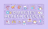 Diabetes health effects word concepts banner