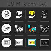 Hotel services dark theme icons set