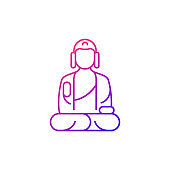 Shan buddha museum gradient linear vector icon.