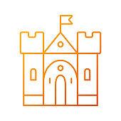 Medieval castle gradient linear vector icon