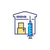 Vaccine distribution RGB color icon
