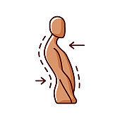 Swayback posture RGB color icon