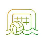 Beach soccer gradient linear vector icon