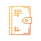 Ancient book gradient linear vector icon