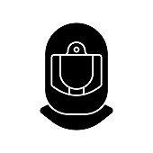 Surgical helmet black glyph icon