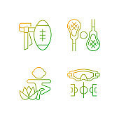 Summer camp activities gradient linear vector icons set