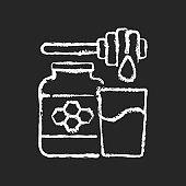 Milk and honey chalk white icon on black background
