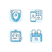Contactless technology blue RGB color icons set