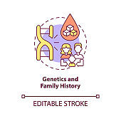 Genetics and family history concept icon