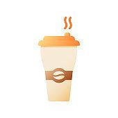 Hot coffee vector flat color icon