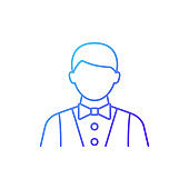 Waiter and barman gradient linear vector icon