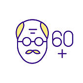 Man's face in adulthood RGB color icon