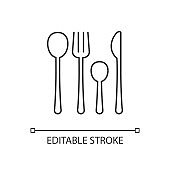 Forks, knives and spoons linear icon