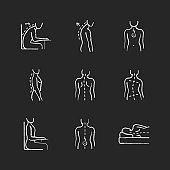 Back and posture problems chalk white icons set on black background