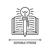 Creative writing linear icon