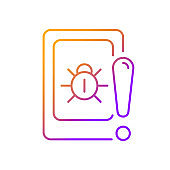 Cell phone bugging gradient linear vector icon
