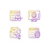 Online censorship gradient linear vector icons set