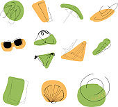 Vector set of summer abstract icons.