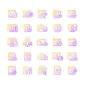 Online surveillance and censorship gradient linear vector icons set