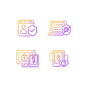 Protecting right to online privacy gradient linear vector icons set
