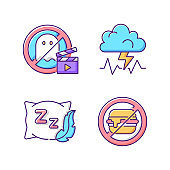 Causes for bad sleep RGB color icons set