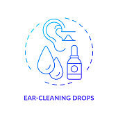 Ear-cleaning drops concept icon