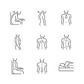 Back and posture problems linear icons set