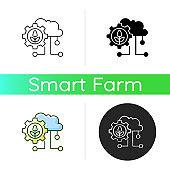 Cloud computing in farming icon