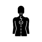 Pressure on spinal nerves black glyph icon