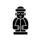 Jeju island statues black glyph icon