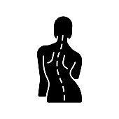 Scoliosis black glyph icon