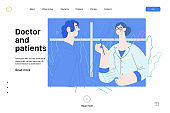 Doctor and patients - medical insurance web template