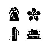 Korean ethnic symbols black glyph icons set on white space