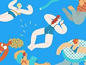 Beach resort activities, modern flat vector illustration