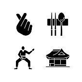 Symbols of Korea black glyph icons set on white space