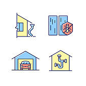 Residential construction RGB color icons set