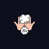 Scrub hands for twenty seconds RGB color icon for dark theme