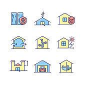 Home building standards RGB color icons set