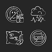 Causes for bad sleep chalk white icons set on black background