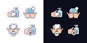 Hand hygiene light and dark theme RGB color icons set