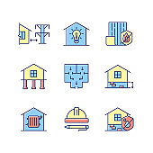 Building safety regulations RGB color icons set