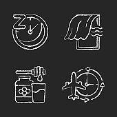Recommendations to improve sleep chalk white icons set on black background