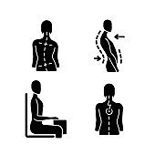 Bad posture problems black glyph icons set on white space