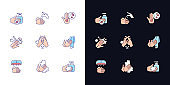 Hand washing steps light and dark theme RGB color icons set
