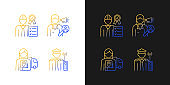 Staff of company gradient icons set for dark and light mode