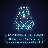 Big panda neon light icon