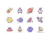 Astronautic RGB color icons set