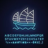 Junk ship neon light icon